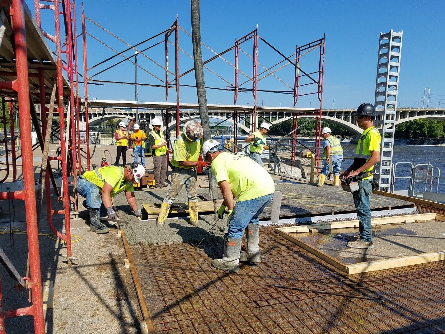 Crew Laying Concrete at Upper St. Anthony Falls Lock and Dam