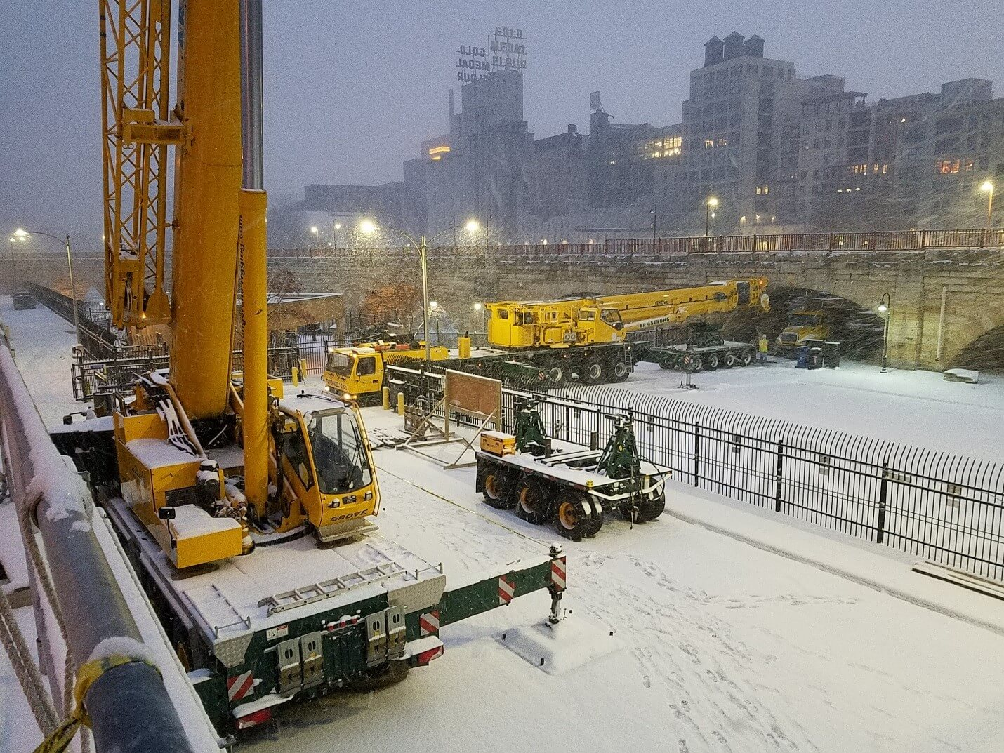 Crane in Snow at Upper St. Anthony Falls Lock and Dam